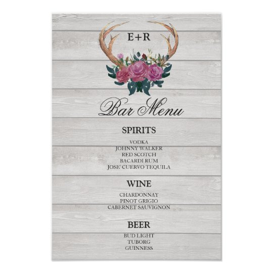 Rustic chic bar menu sign | Deer antler