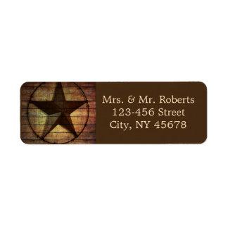rustic chic barn wood texas star western wedding return address label