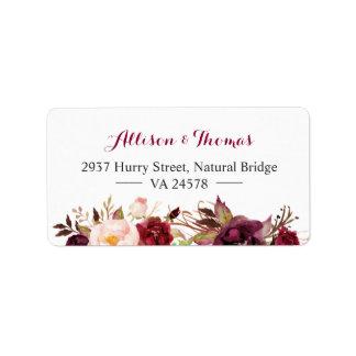Rustic Chic Burgundy Marsala Red Floral Wedding Label