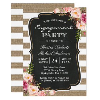Rustic Chic Burlap Stripes Floral Engagement Party Card