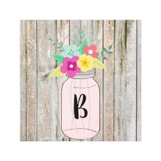 Rustic Chic Canvas with Mason Jar & Flowers