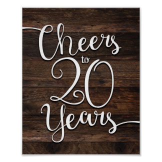 Rustic Chic CHEERS TO 20 YEARS Print
