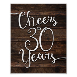 Rustic Chic CHEERS TO 30 YEARS Print