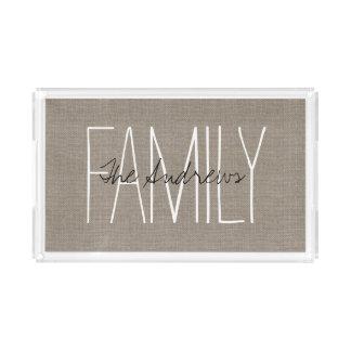 Rustic Chic Family Monogram Acrylic Tray