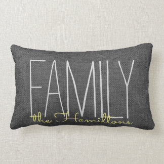Rustic Chic Family Monogram IN DARK GREY YELLOW Lumbar Pillow