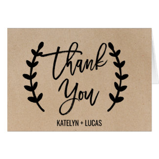 Rustic Chic Faux Kraft Calligraphy Thank You Card