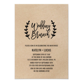 Rustic Chic Faux Kraft Calligraphy Wedding Brunch Card