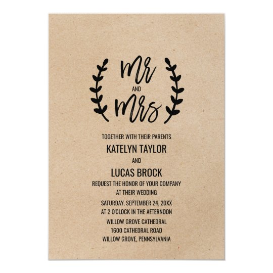Rustic Chic Faux Kraft Mr & Mrs Wedding Card