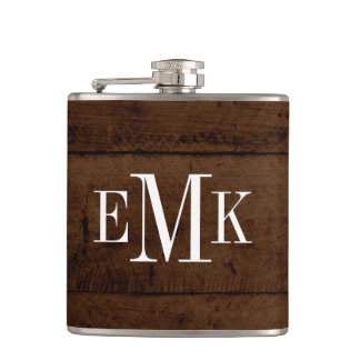 Rustic Chic Faux Wood Classic Monogram Hip Flask