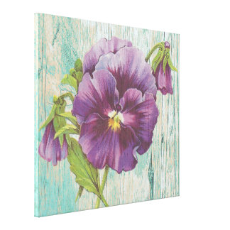 Rustic chic floral canvas, pansy stretched canvas prints