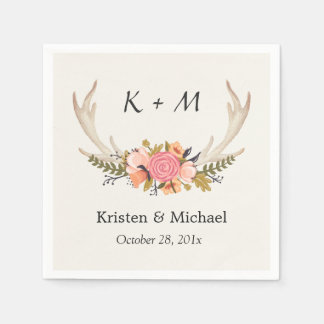 Rustic Chic Floral Deer Antler Wedding Monogram Napkin