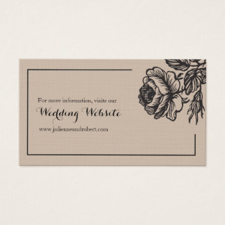 Rustic Chic Floral Simple Wedding Rsvp Website Business Card