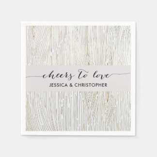 Rustic Chic Gold Wood Grain Party Napkins