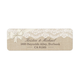 Rustic Chic Ivory Burlap Lace Ribbon Return Address Label