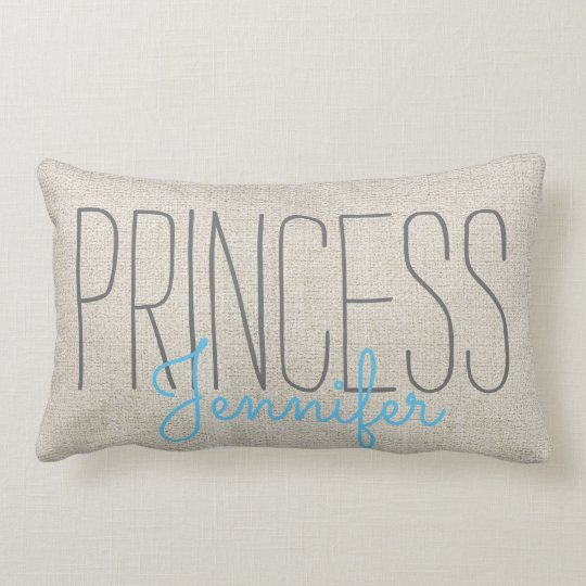 Rustic Chic PRINCESS YOUR NAME IN BEIGE BLUE Lumbar Pillow