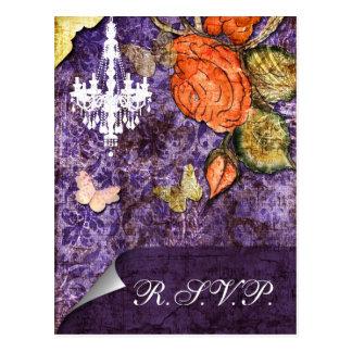 Rustic Chic Purple Vintage Rose Wedding Postcard