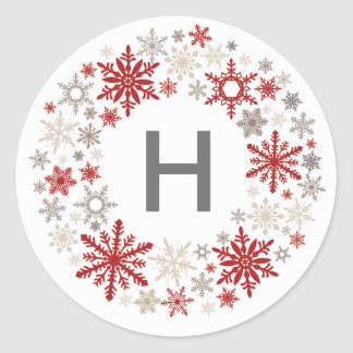 Rustic Chic red and taupe snowflakes Round Sticker