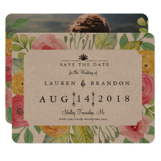 Rustic Chic Save the Date Photo Back Card