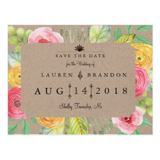 Rustic Chic Save the Date with Texture Postcard