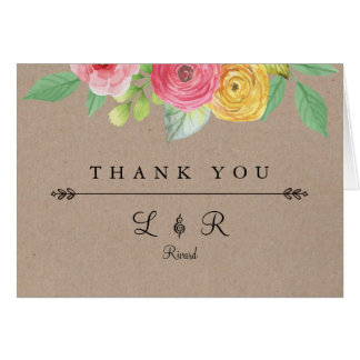 Rustic Chic Thank You Card With Texture