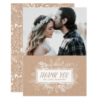 Rustic Chic White Flowers on Kraft Paper Thank You Card