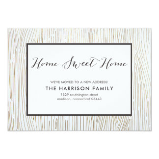Rustic Chic Wood Sweet Home Moving Announcement