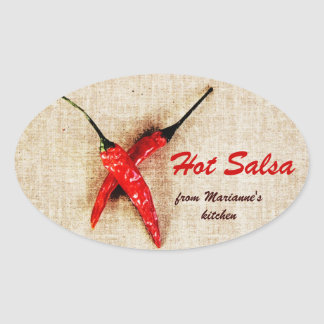 rustic chili peppers hot salsa sauce oval sticker