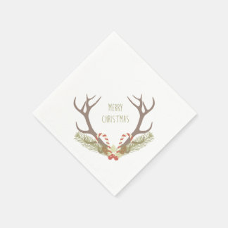 Rustic Christmas   Antler & Candy Canes Disposable Napkins