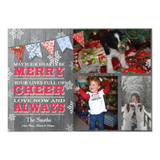 Rustic Christmas Bunting Photo Cards