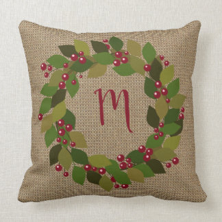 Rustic Christmas | Faux Burlap | Wreath Throw Pillow