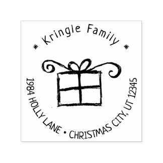 Rustic Christmas Gift Handwritten Family Address Self-inking Stamp