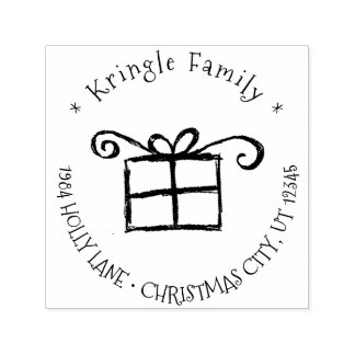 Rustic Christmas Gift Whimsical Family Address Self-inking Stamp