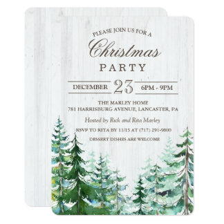 Rustic Christmas Holiday Party Invitation