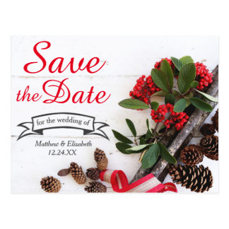 Rustic Christmas Holly & Pine Cones Save The Date Postcard