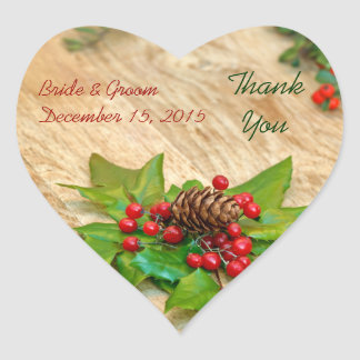Rustic Christmas Holly Thank You Wedding Stickers