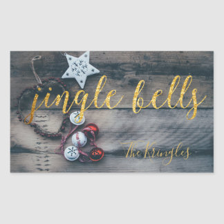 Rustic Christmas Jingle Bells Gold Personalized Sticker