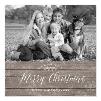 "Rustic Christmas Photo Card 5.25"" Square Invitation Card"