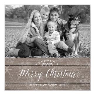 "Rustic Christmas Photo Card 5.25"" Square Invitation Card"