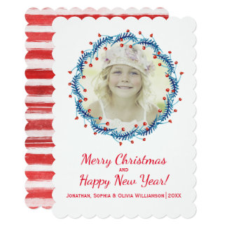 Rustic Christmas Pine & Berry Wreath Holiday Photo Card