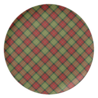 Rustic Christmas Plaid Melamine Plate