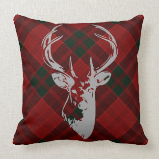 Rustic Christmas Tartan Pattern Country Deer Head Throw Pillow