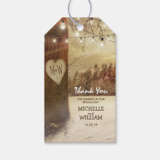Rustic Christmas Winter Tree Lights Wedding Favor Gift Tags