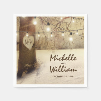 Rustic Christmas Winter Tree Twinkle Lights Disposable Napkin