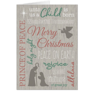 Rustic Christmas Word Collage with Nativity Card