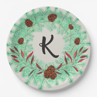 Rustic Christmas Wreath and Pine Cones Monogrammed Paper Plate