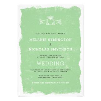 Rustic Claddagh Irish wedding invite, 3991 Card