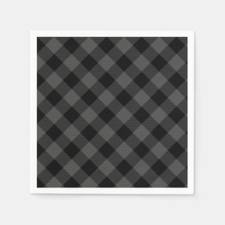 Rustic classic grey and black plaid paper napkin