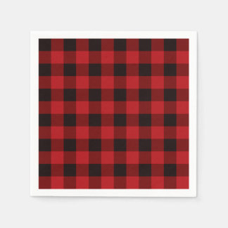Rustic classic red plaid paper napkin