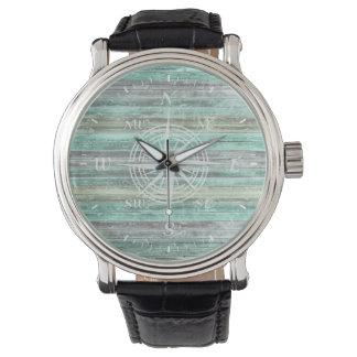 Rustic Coastal Compass Rose Watch