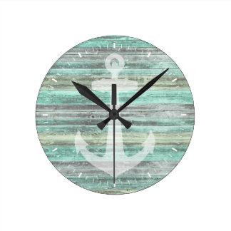 Rustic Coastal Decor Anchor Wall Clock